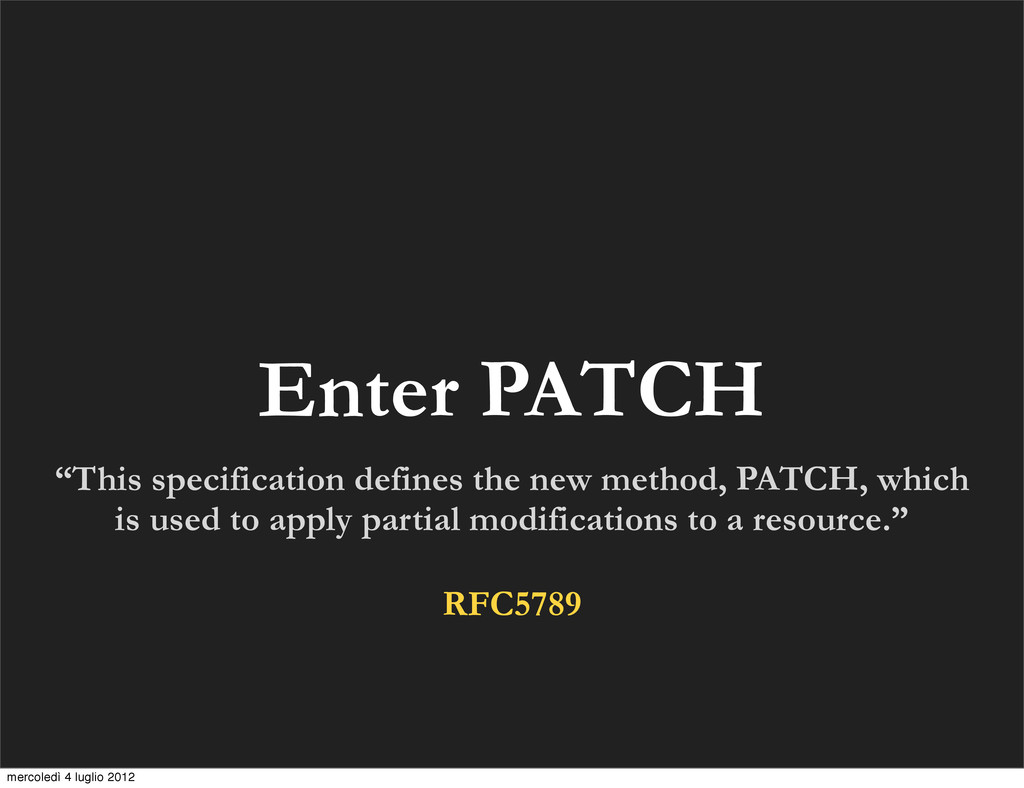 "Enter PATCH ""This specification defines the new..."