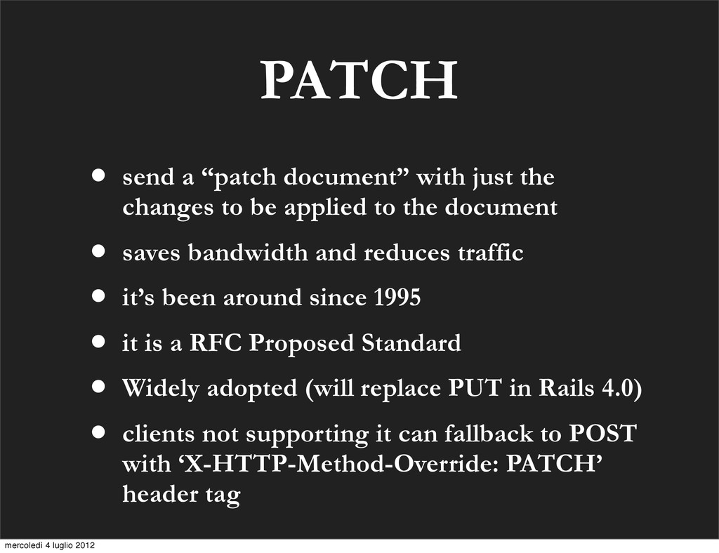 "PATCH • send a ""patch document"" with just the c..."