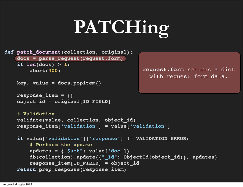 PATCHing def patch_document(collection, origina...
