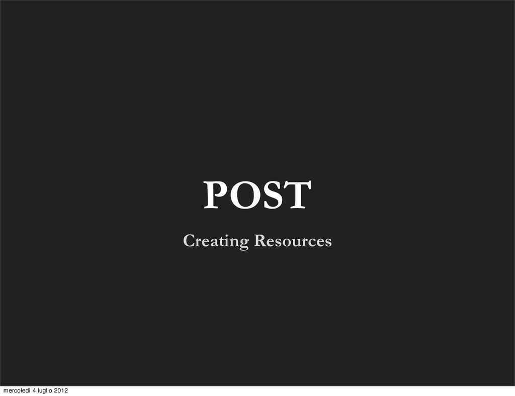 Creating Resources POST mercoledì 4 luglio 2012