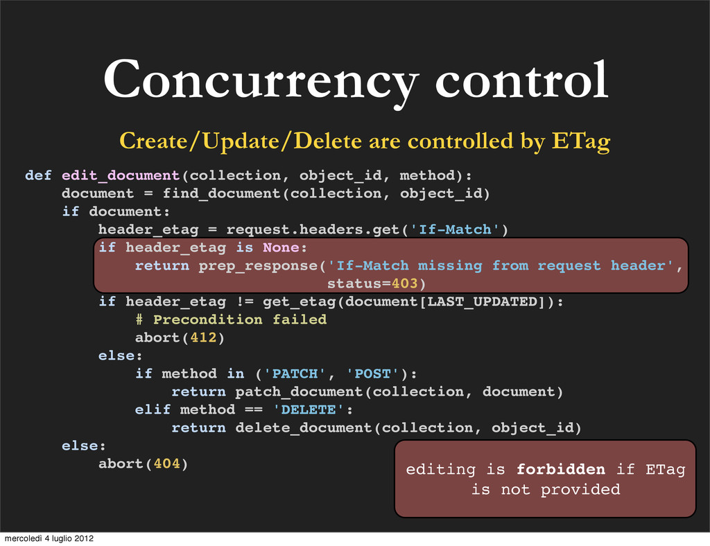 Concurrency control Create/Update/Delete are co...