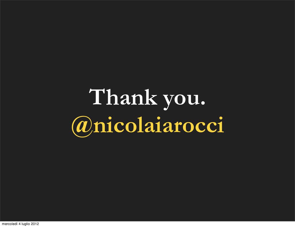 Thank you. @nicolaiarocci mercoledì 4 luglio 20...