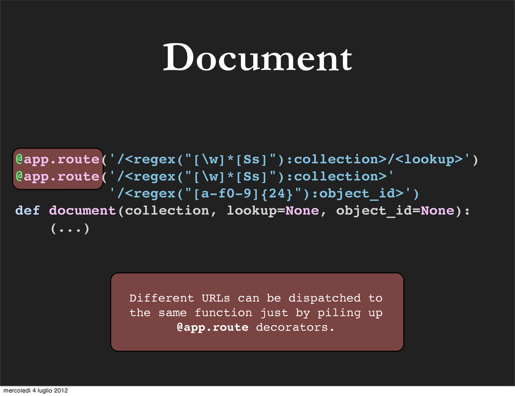 Document Different URLs can be dispatched to th...