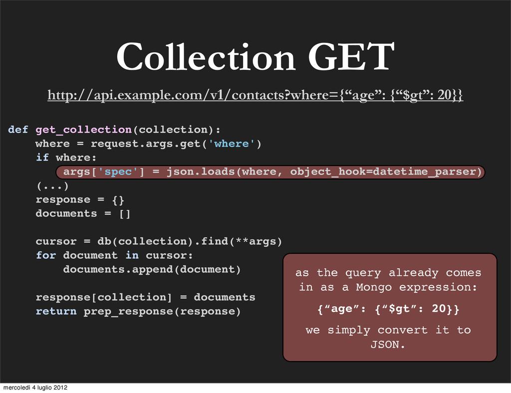 Collection GET def get_collection(collection): ...