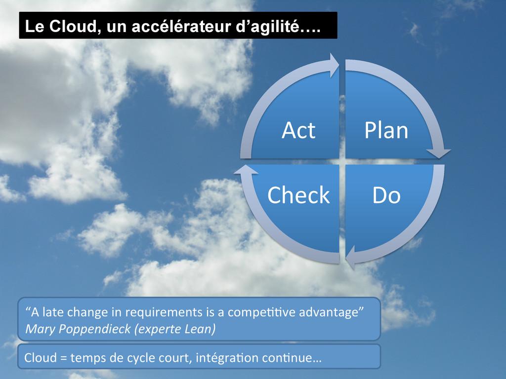 """Le Cloud, un accélérateur d'agilité…. """"A lat..."""