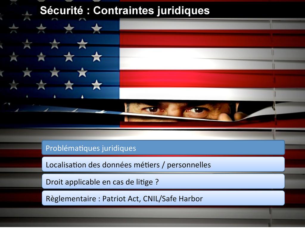 Sécurité : Contraintes juridiques ProblémaGques...
