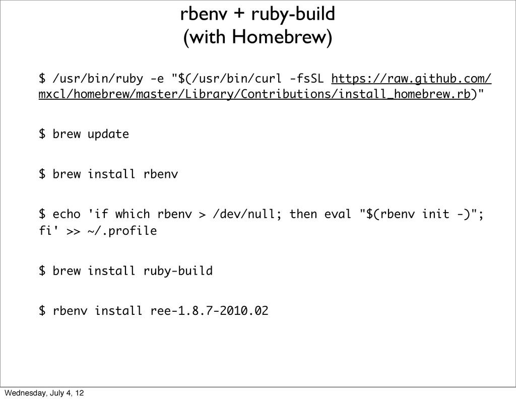 """$ /usr/bin/ruby -e """"$(/usr/bin/curl -fsSL https..."""
