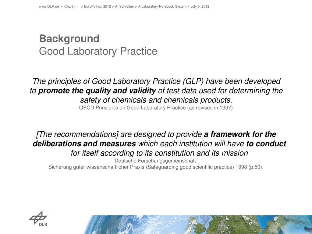 Background Good Laboratory Practice The princip...
