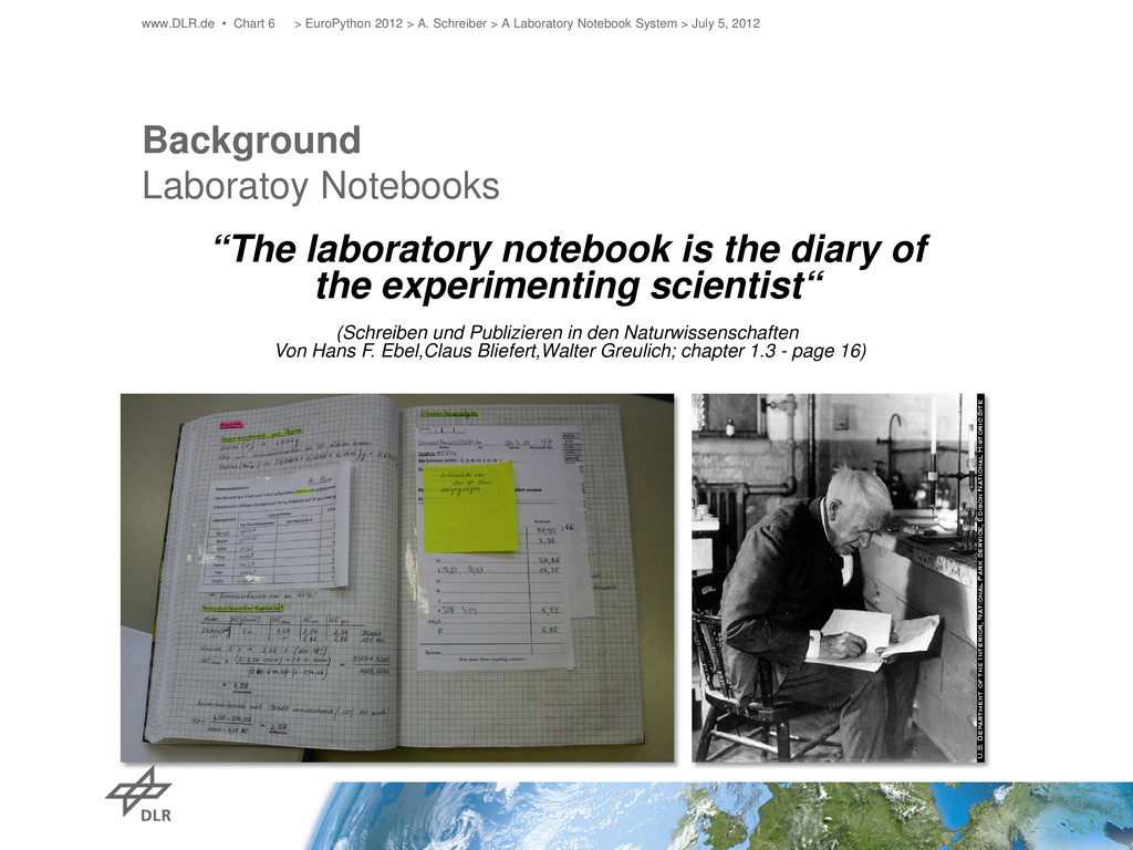 "Background Laboratoy Notebooks ""The laboratory ..."