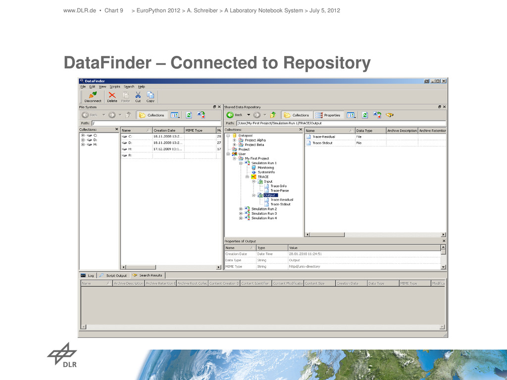 DataFinder – Connected to Repository www.DLR.de...