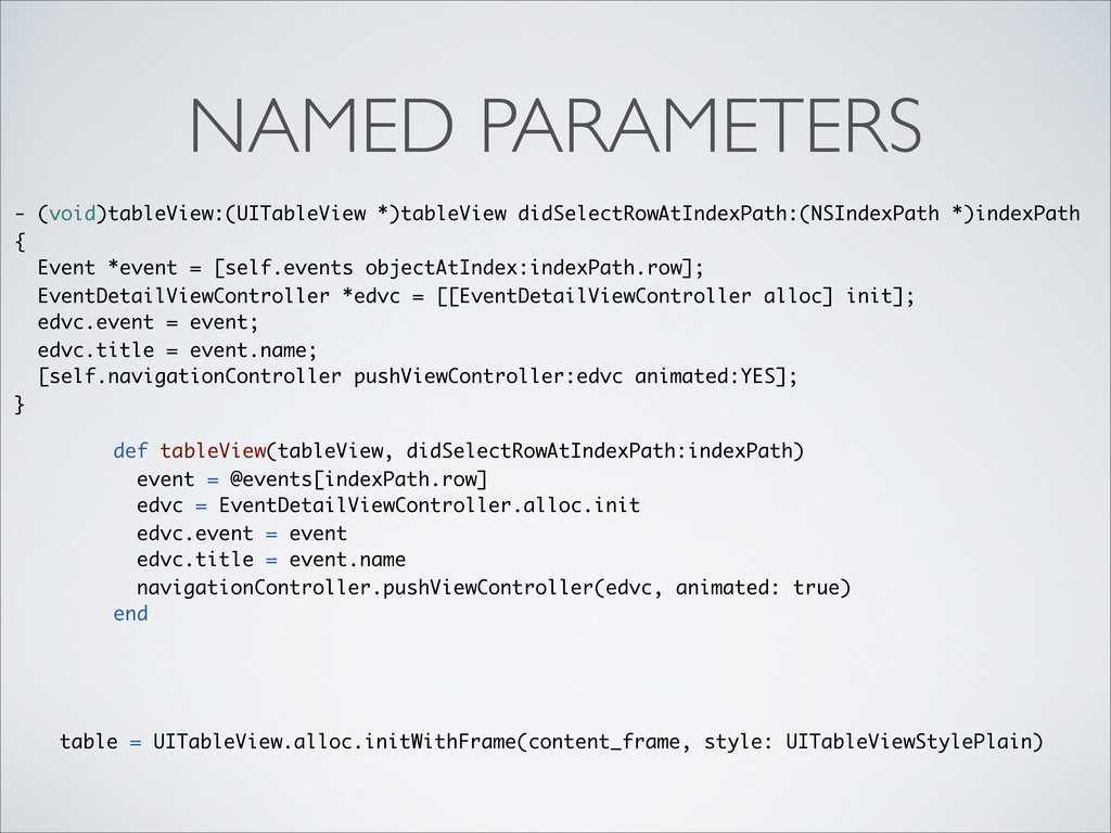 NAMED PARAMETERS table = UITableView.alloc.init...