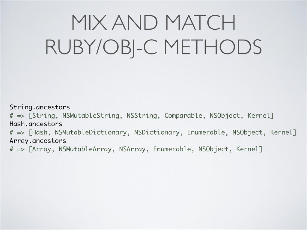 MIX AND MATCH RUBY/OBJ-C METHODS String.ancesto...