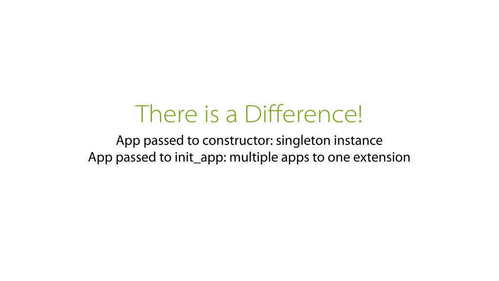 There is a Difference! App passed to constructor...