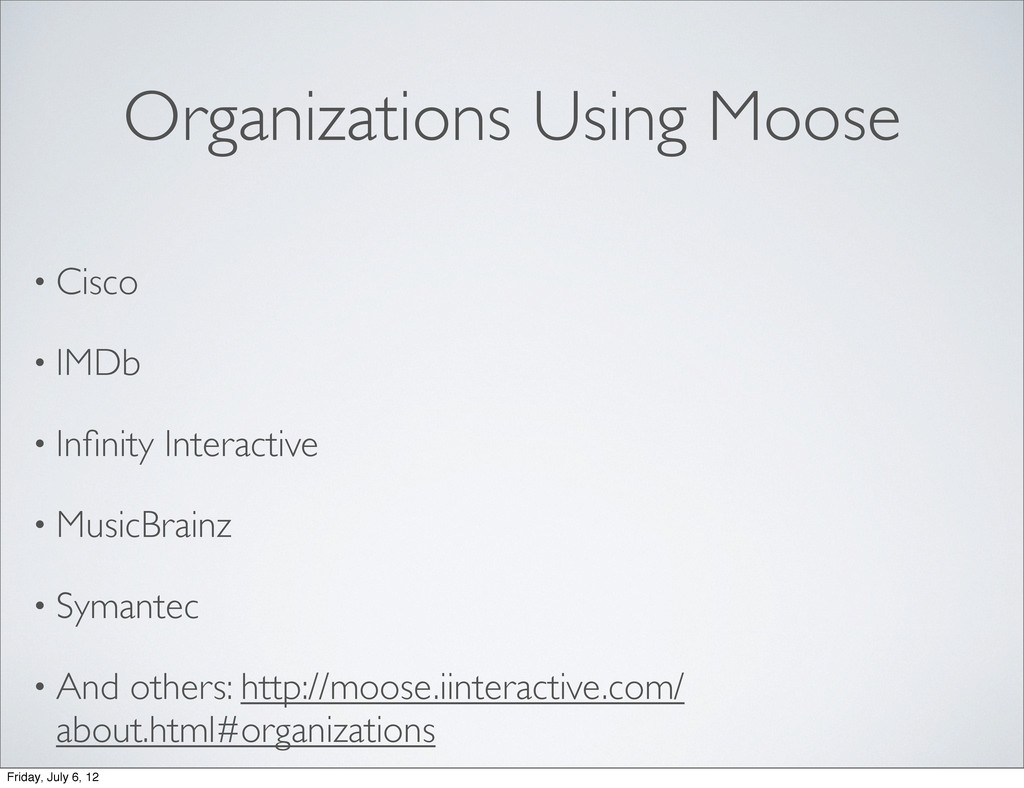 Organizations Using Moose • Cisco • IMDb • Infin...