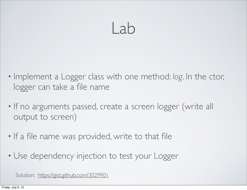 Lab • Implement a Logger class with one method:...