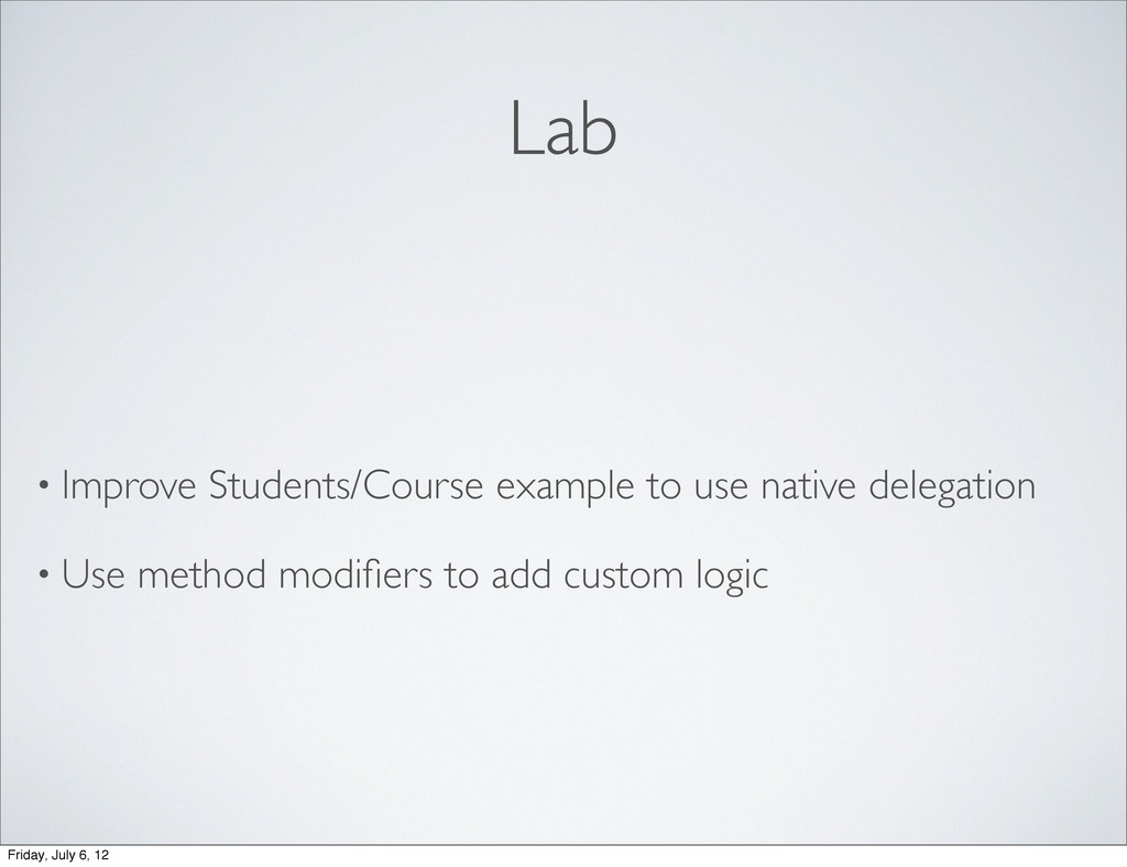 Lab • Improve Students/Course example to use na...