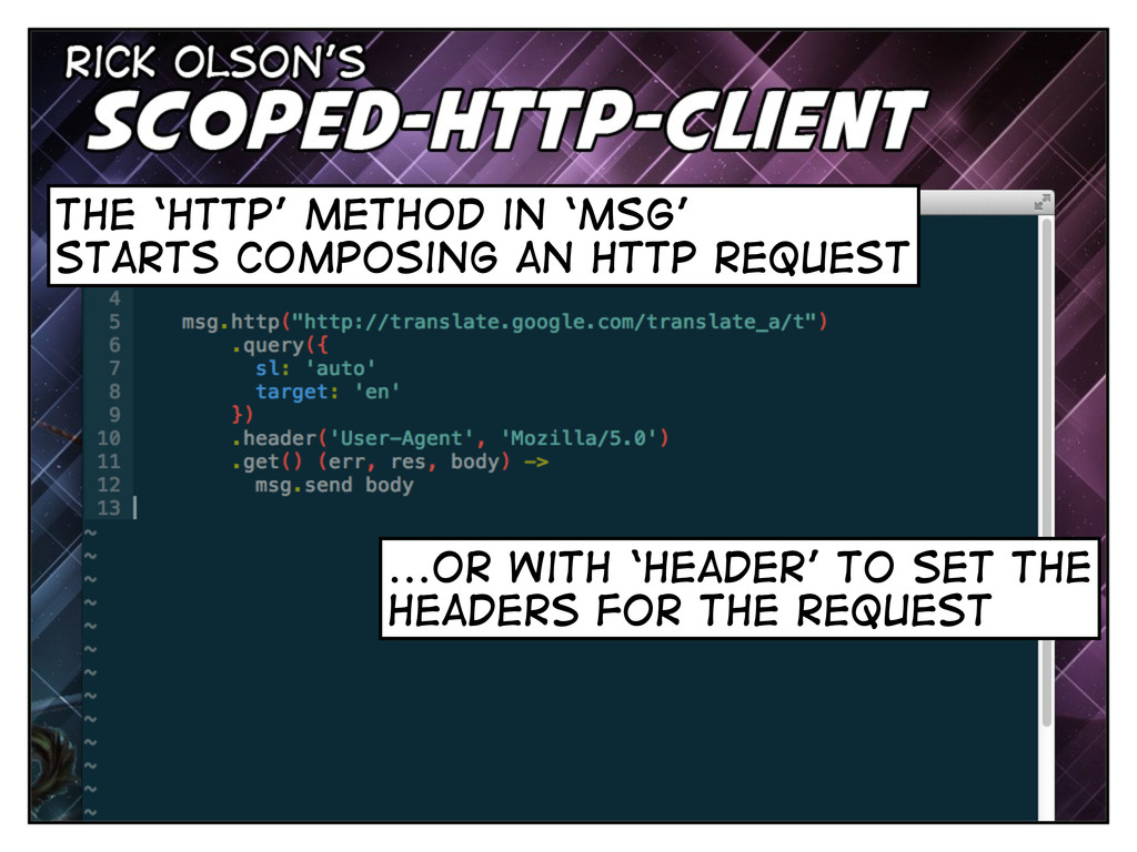 the 'http' method in 'msg' starts composing an ...