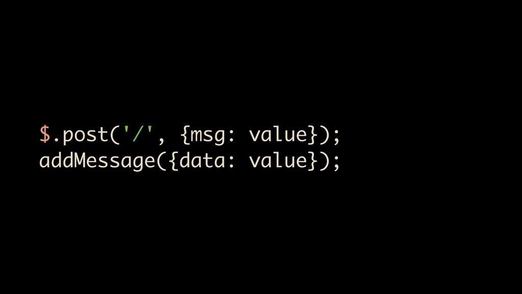 $.post('/', {msg: value}); addMessage({data: va...