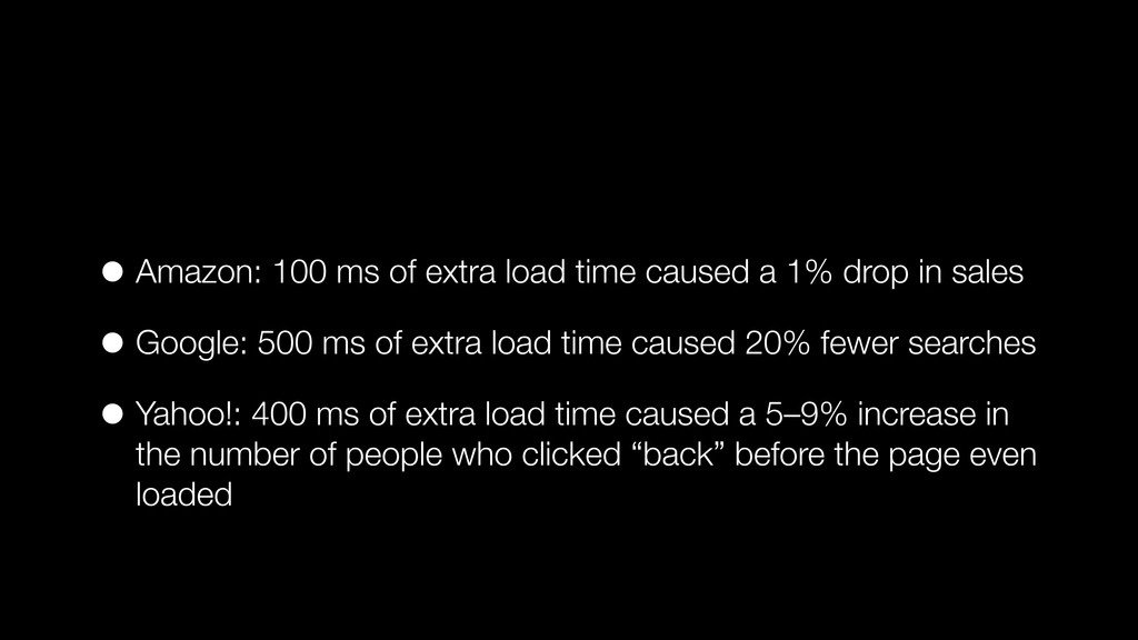 • Amazon: 100 ms of extra load time caused a 1%...