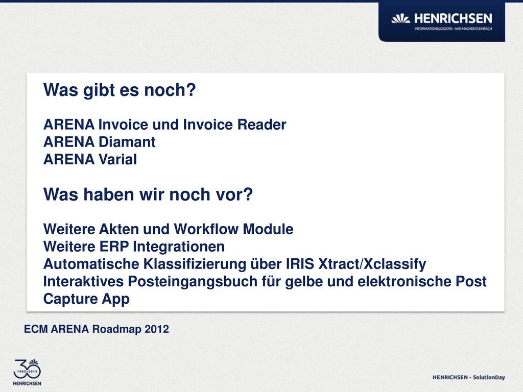 ECM ARENA Roadmap 2012 Was gibt es noch? ARENA ...