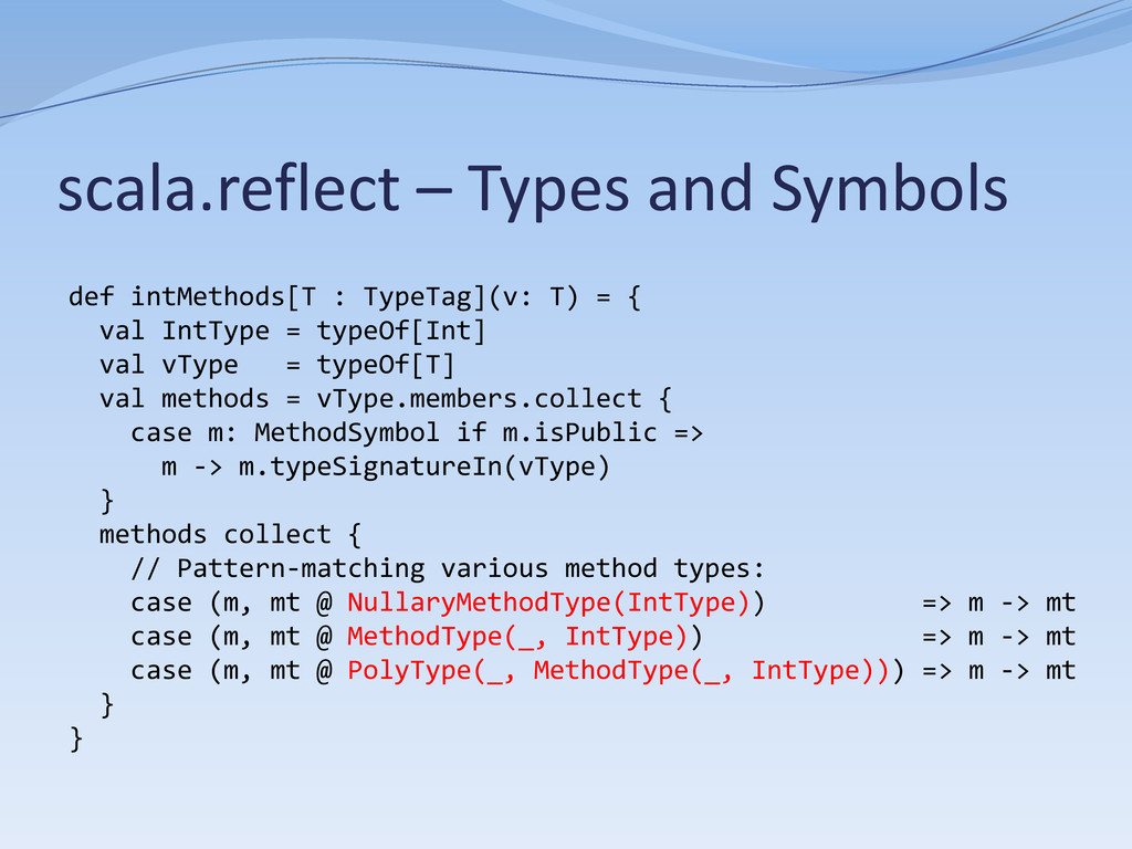 scala.reflect – Types and Symbols def intMethod...