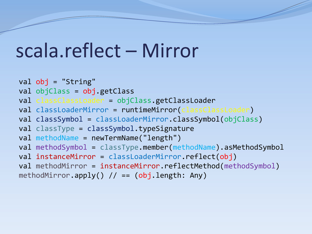 "scala.reflect – Mirror val obj = ""String"" val o..."