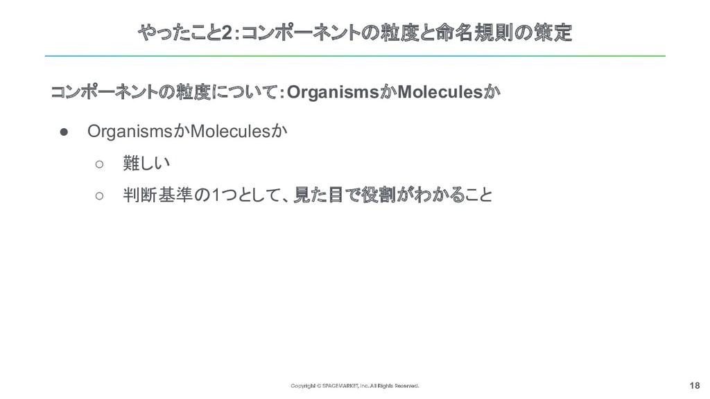 18 やったこと2:コンポーネントの粒度と命名規則の策定 ● OrganismsかMolecu...