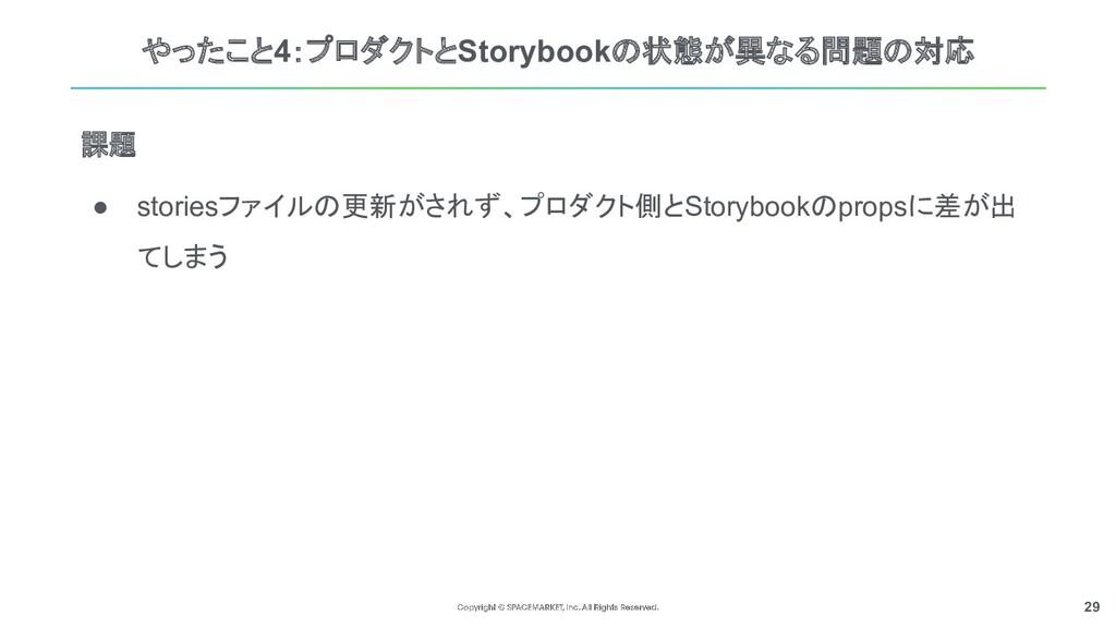 29 やったこと4:プロダクトとStorybookの状態が異なる問題の対応 ● stories...