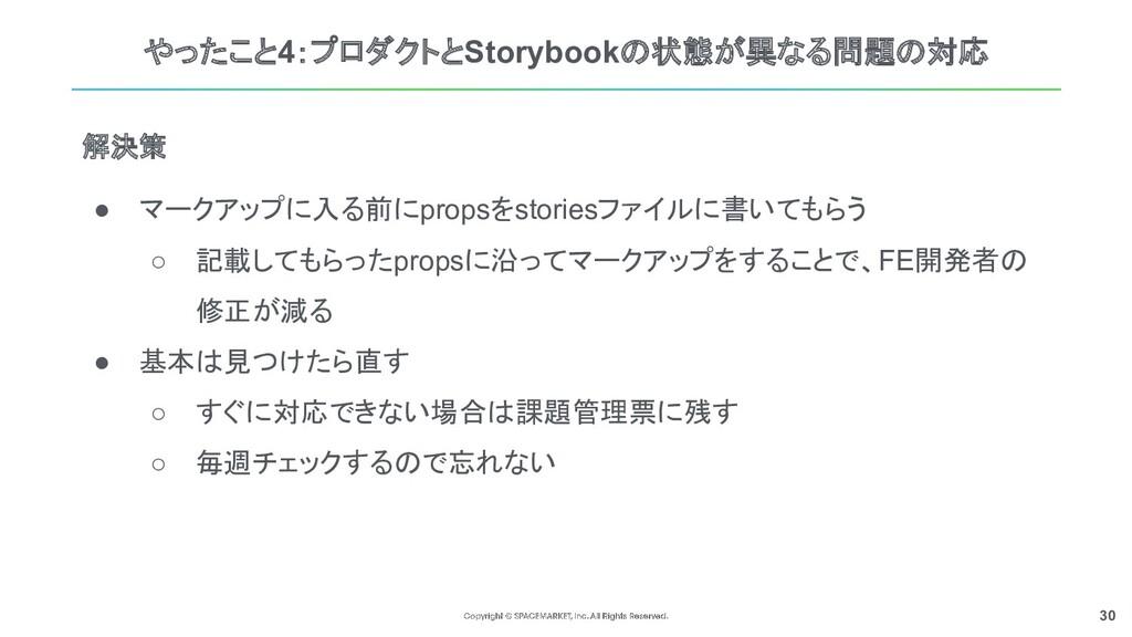 30 やったこと4:プロダクトとStorybookの状態が異なる問題の対応 ● マークアップに...