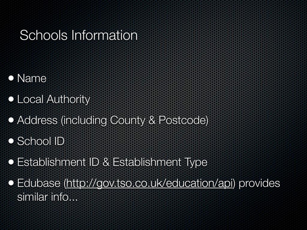 Schools Information • Name • Local Authority • ...