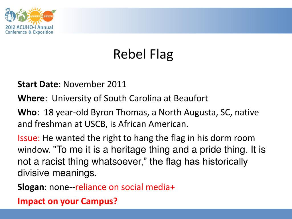 Rebel Flag Start Date: November 2011 Where: Uni...