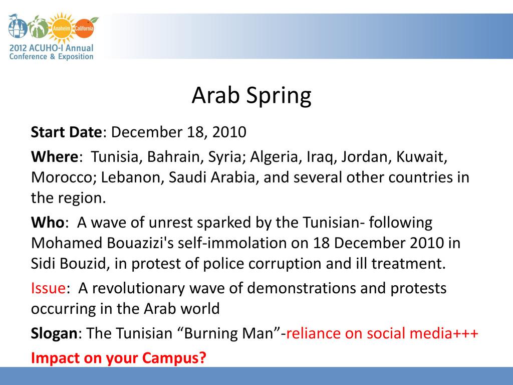 Arab Spring Start Date: December 18, 2010 Where...