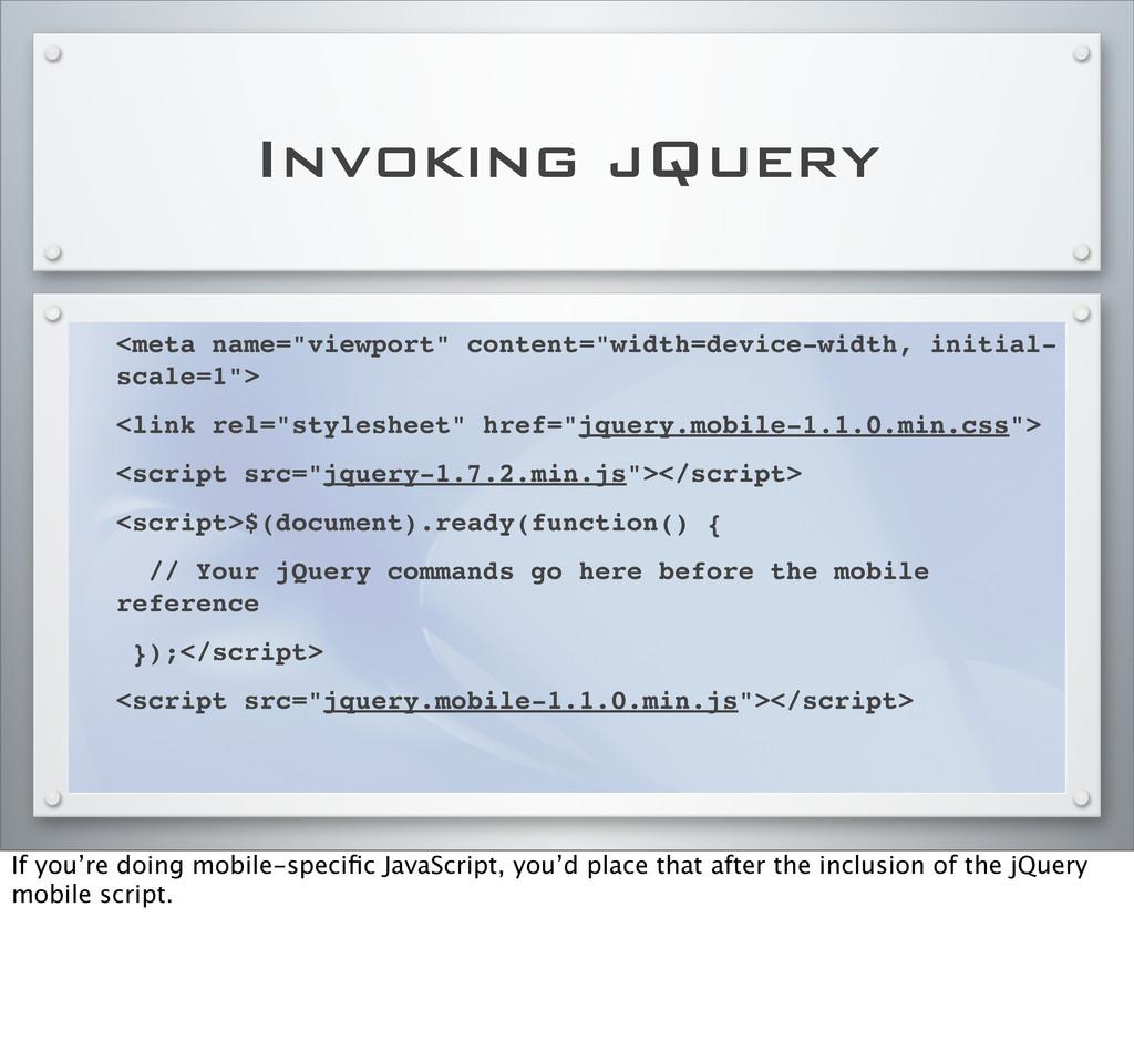 "Invoking jQuery <meta name=""viewport"" content=""..."
