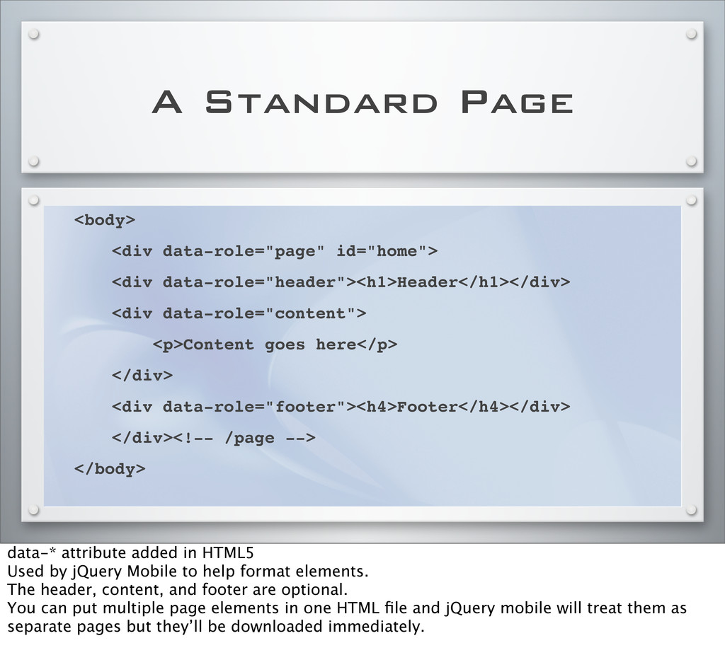 """A Standard Page <body> ! <div data-role=""""page"""" ..."""