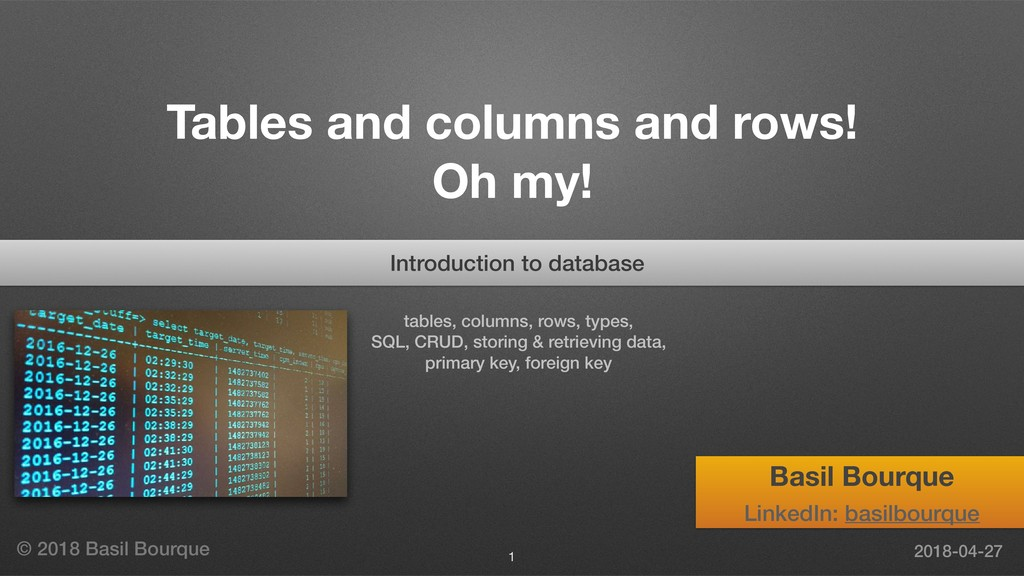 Tables and columns and rows! Oh my! tables, col...