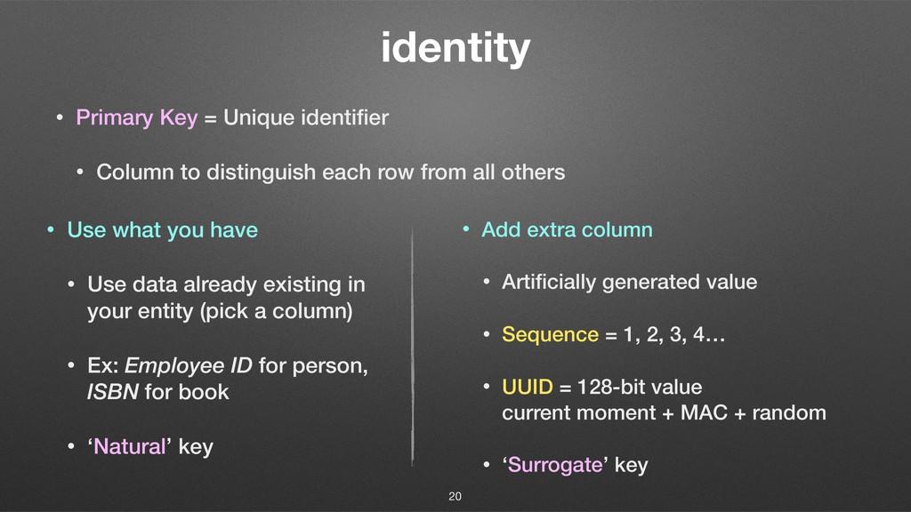 identity • Primary Key = Unique identifier • Col...
