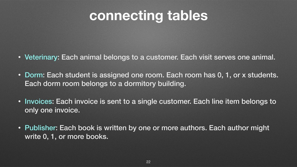 connecting tables • Veterinary: Each animal bel...