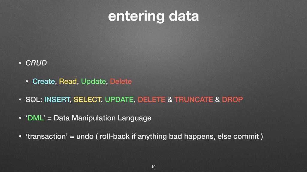entering data • CRUD • Create, Read, Update, De...