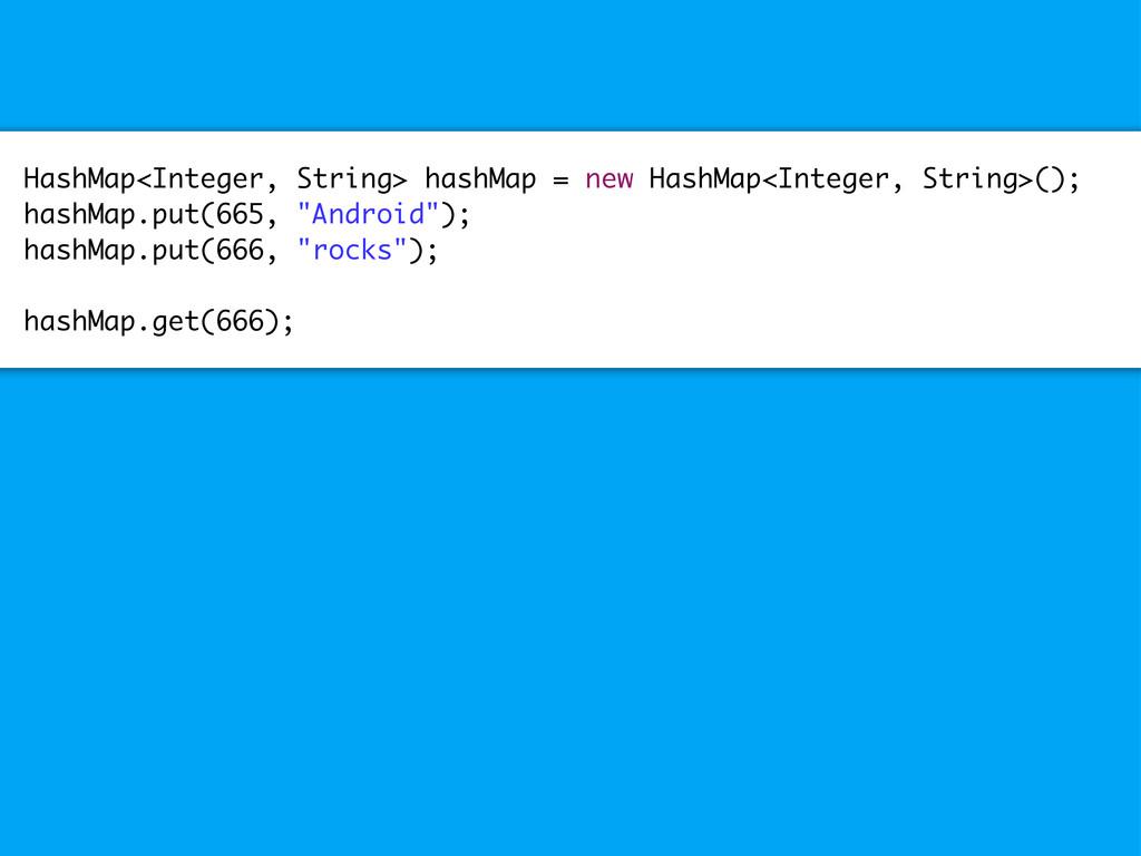 HashMap<Integer, String> hashMap = new HashMap<...