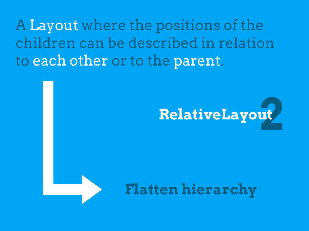 2 RelativeLayout A Layout where the positions o...