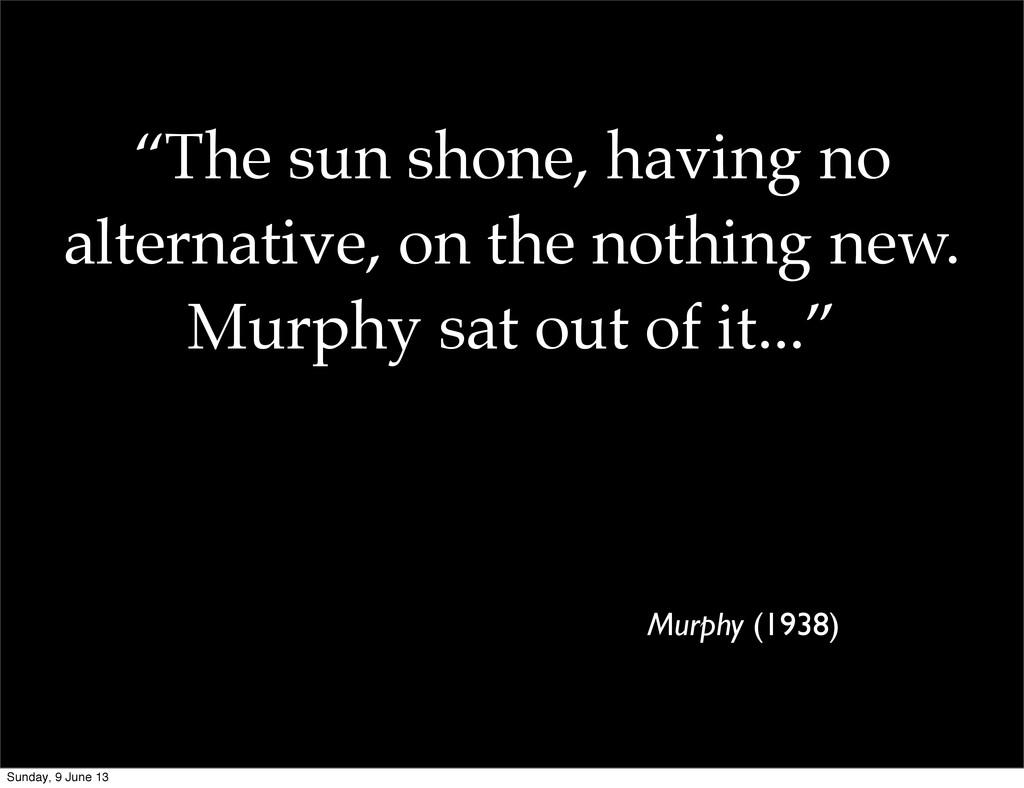 """The sun shone, having no alternative, on the n..."