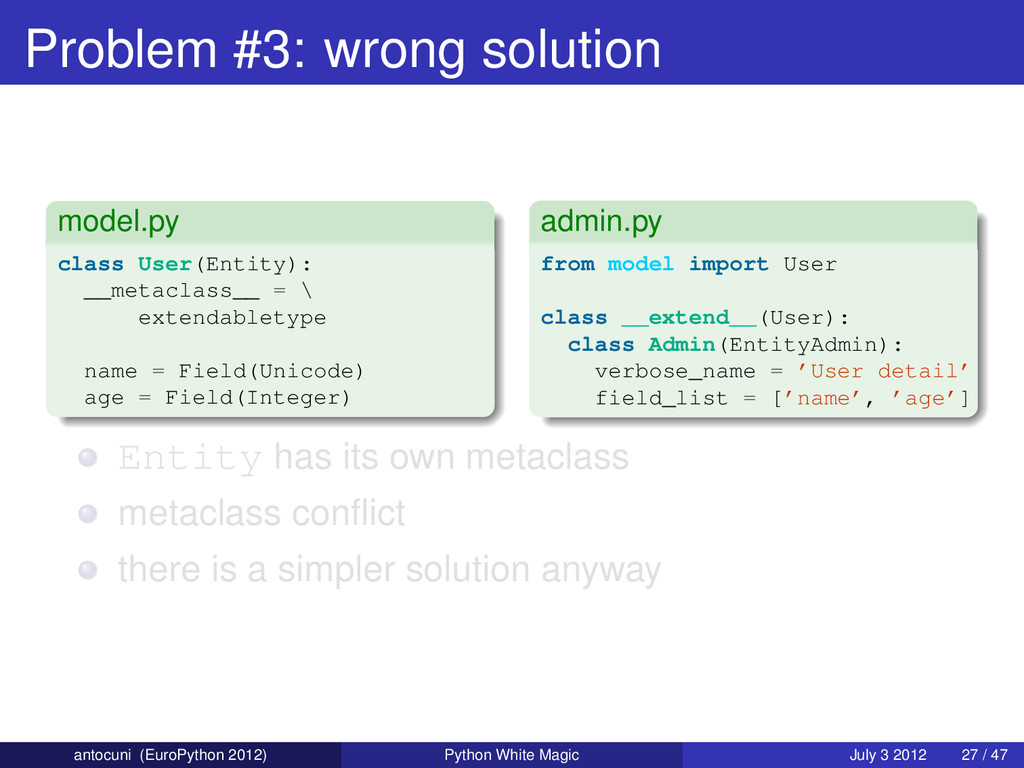 Problem #3: wrong solution model.py class User(...