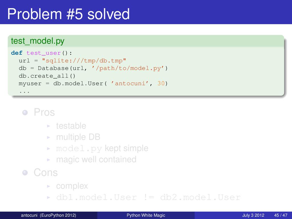 Problem #5 solved test_model.py def test_user()...
