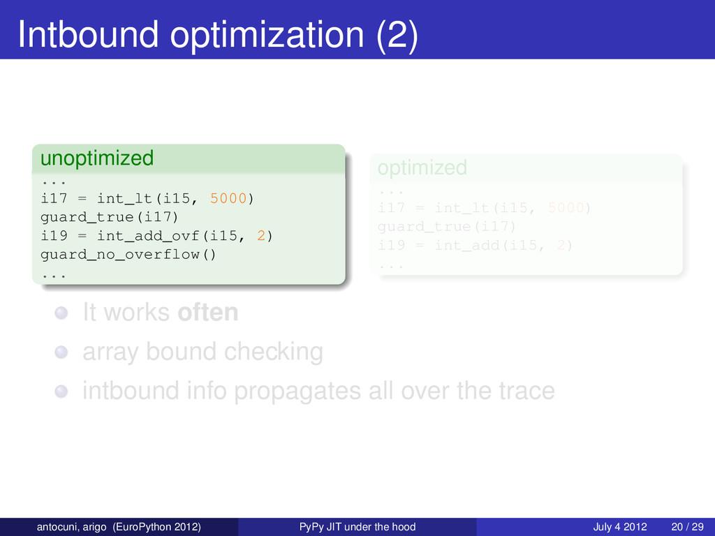 Intbound optimization (2) unoptimized ... i17 =...