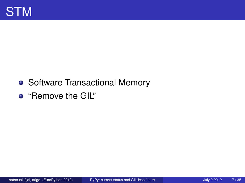 "STM Software Transactional Memory ""Remove the G..."