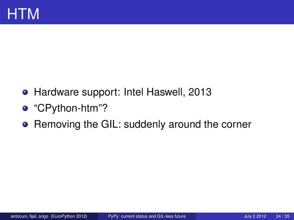 "HTM Hardware support: Intel Haswell, 2013 ""CPyt..."