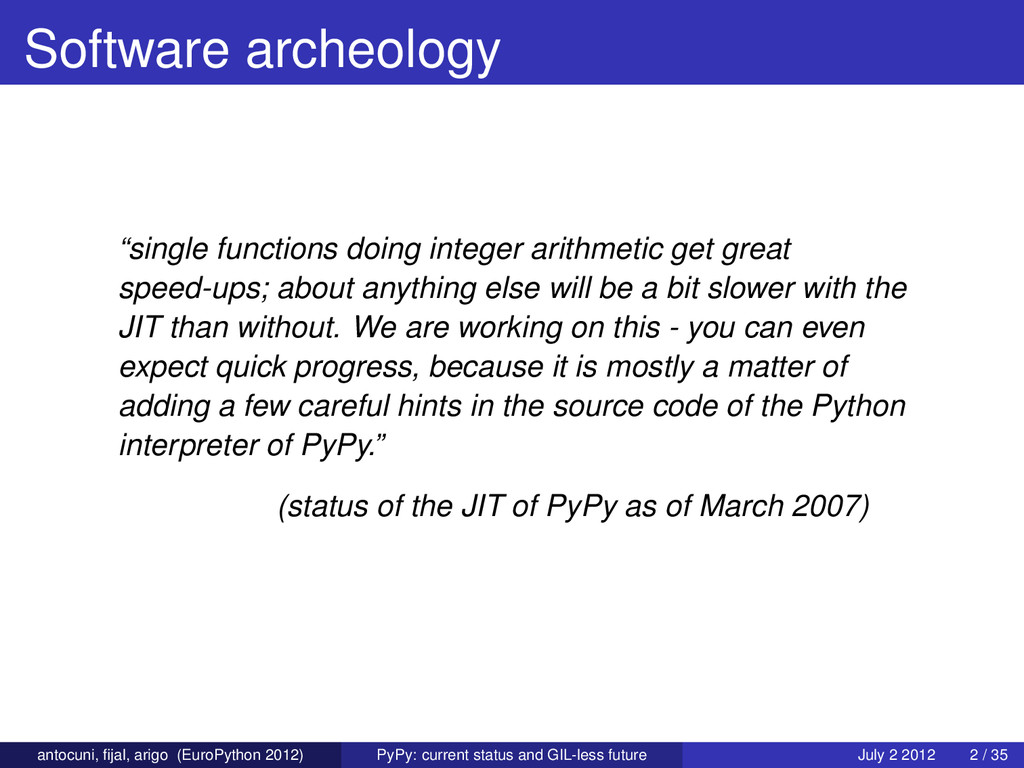 "Software archeology ""single functions doing int..."
