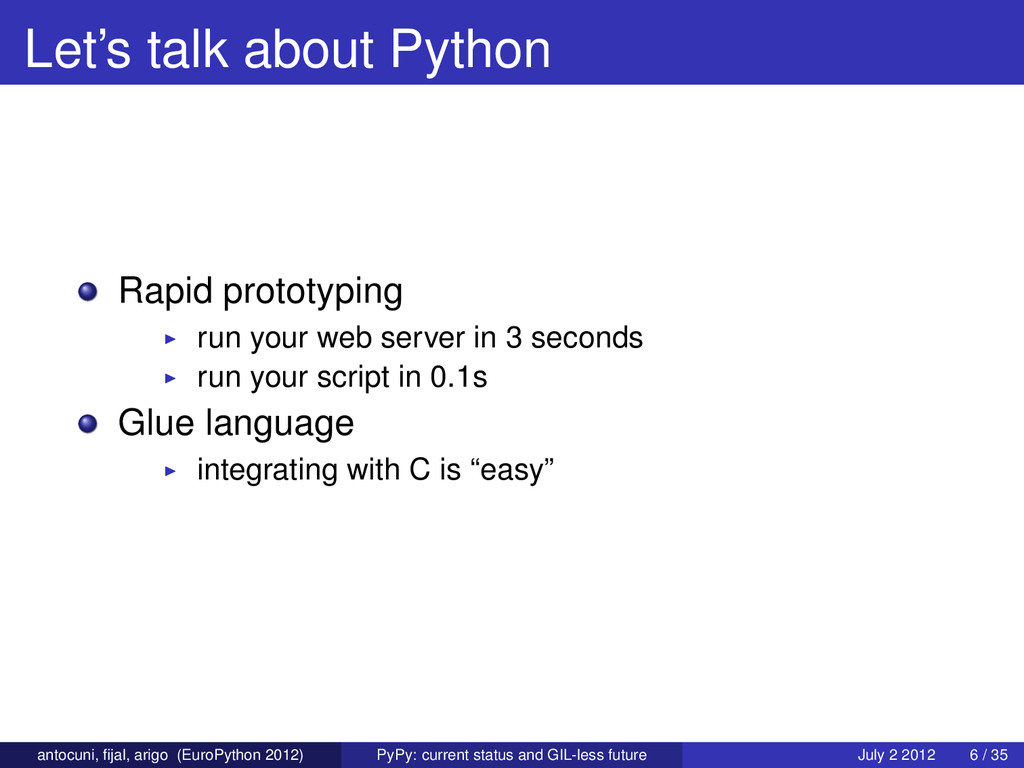 Let's talk about Python Rapid prototyping run y...