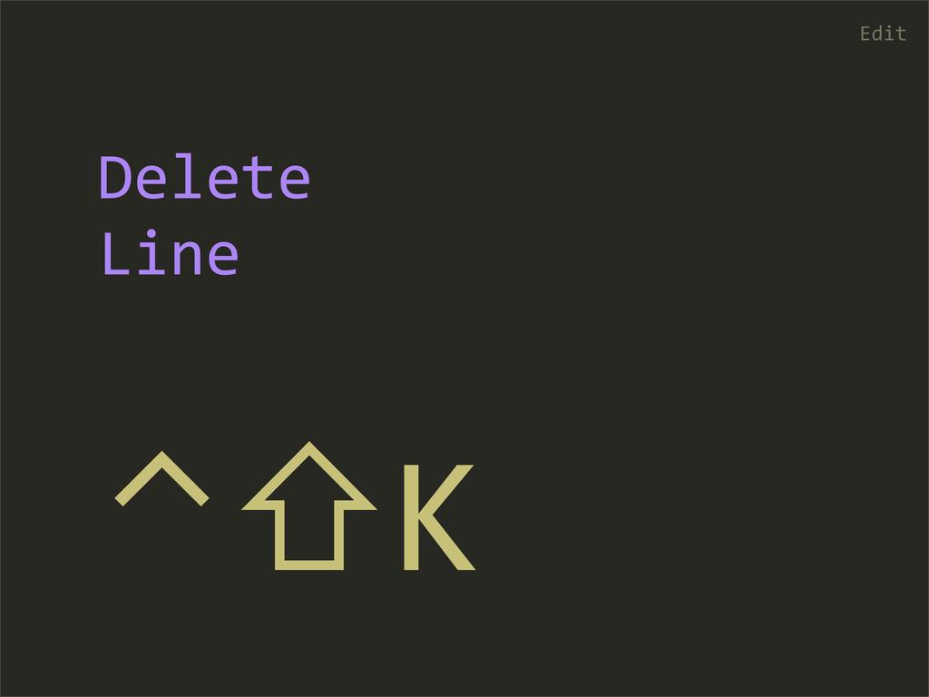 ⌃⇧K Edit Delete Line