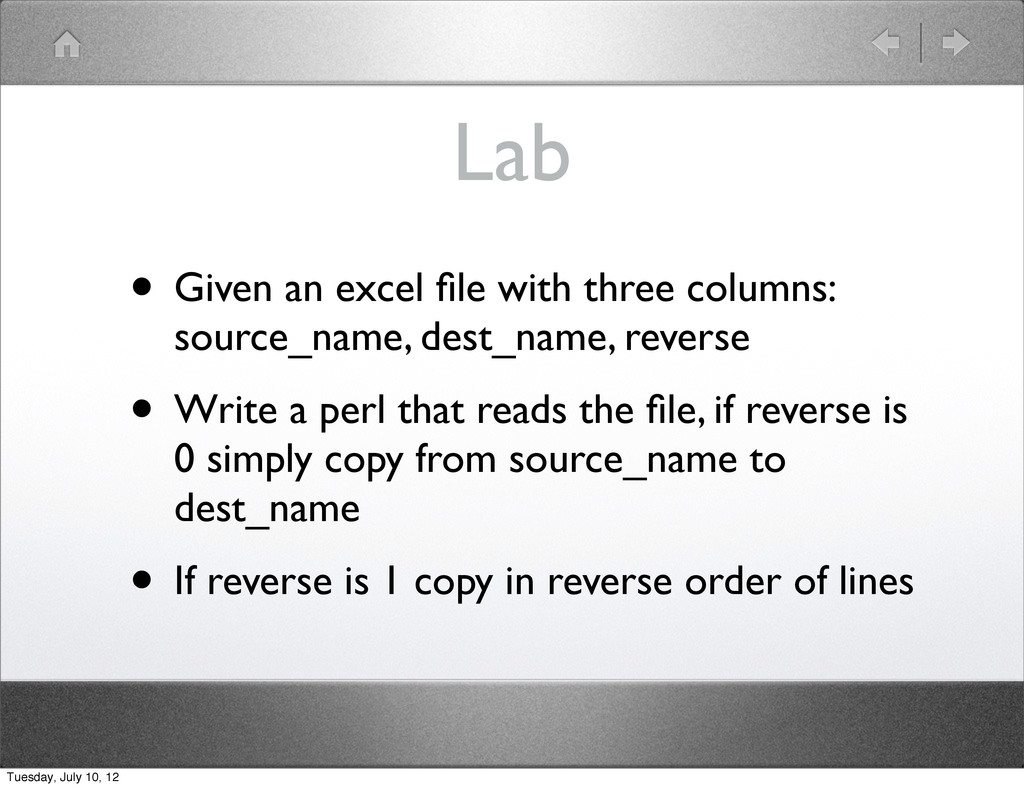 Lab • Given an excel file with three columns: so...